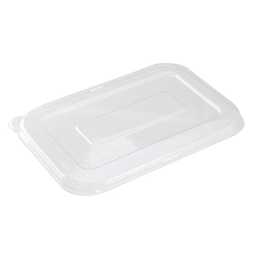 "Conserveware PETE Clear Flat Lid for Rectangular Bowl - 12-16 oz - 7"" x 4.5"" - 42RCFL1216"