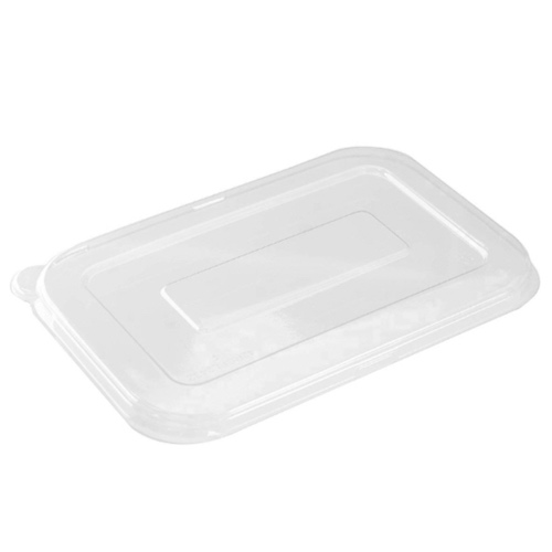 "Conserveware PETE Clear Flat Lid for Rectangular Bowl - 24-32 oz - 8.5"" x 5.5"" - 42RCFL2432"