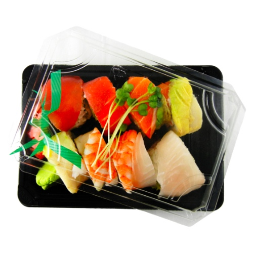 "World Centric PLA Black Lid Sushi Container - 7"" x 5"" x 2"" - SU-CS-75"