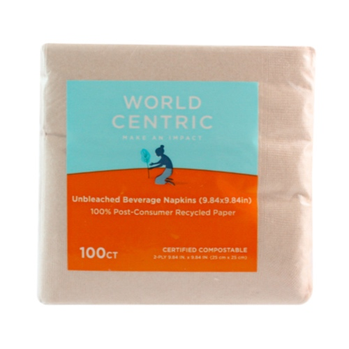 "World Centric Paper Beverage Napkin 2-Ply - 5"" x 5"" - NP-SC-BV"