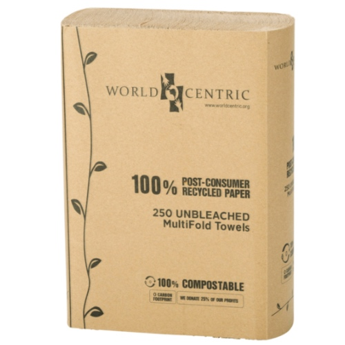 "World Centric Paper Multifold Towel 1-Ply - 3"" x 9"" - TW-PA-MF"