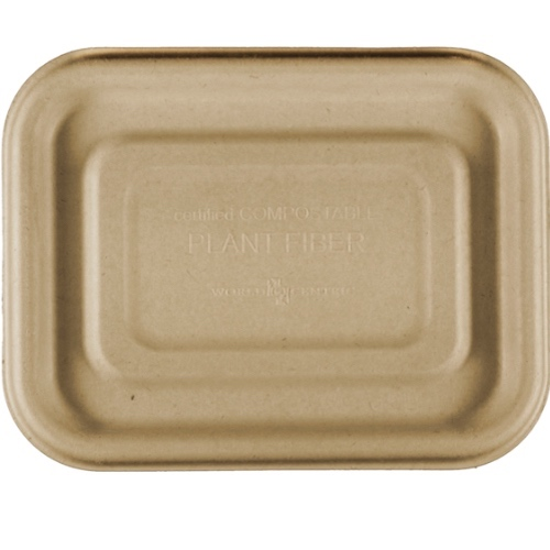 "World Centric Fiber Flat Lid for Tray - 6.5"" x 5"" - TRL-SC-UAR"