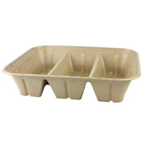 World Centric Fiber PLA Lining Catering Pan Tray 3 Compartment - 104 oz - CA-SC-104TL