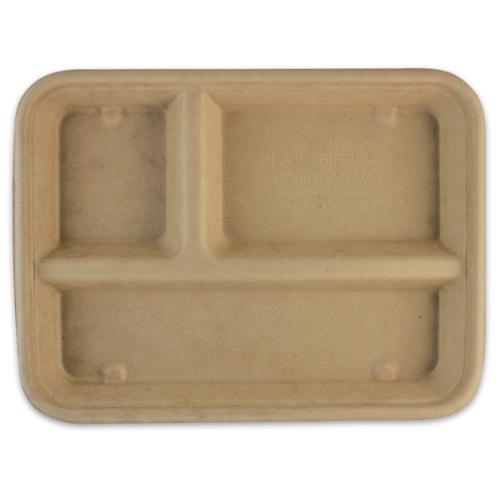"World Centric Fiber Lunch Tray 3 Compartment - 16 oz - 9.5"" x 7"" x 1"" - CT-SC-16T"