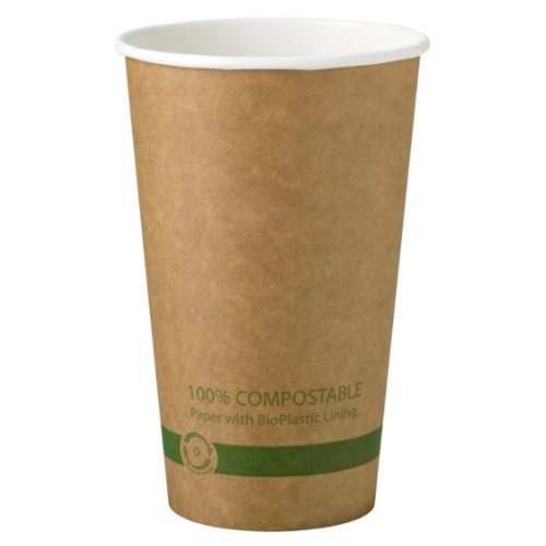World Centric Paper Kraft Hot Cup - 16 oz - CU-PA-16-K