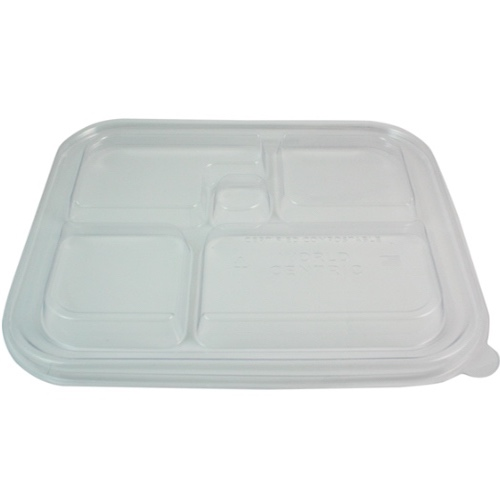 "World Centric PLA Clear Flat Lid for Bento Tray - 12"" x 9.5"" - TRL-CS-BB"