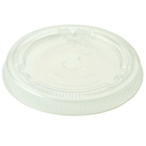 World Centric PLA Clear Flat Lid for Cold Cup - 12-22 oz - CUL-CS-12F