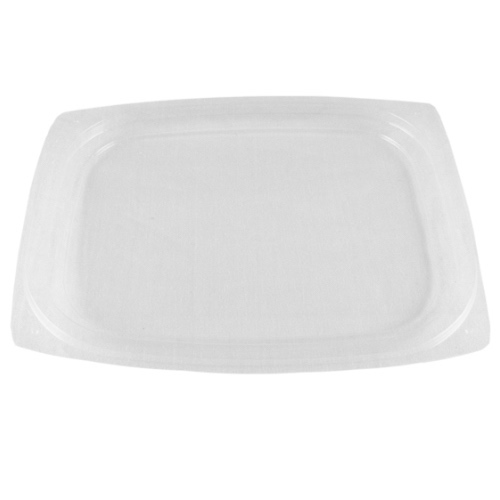 World Centric PLA Clear Flat Lid for Rectangular Deli Container - 8-16 oz - RDL-CS-8