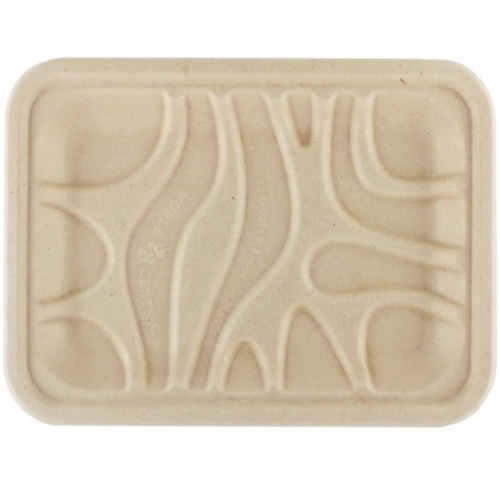 """World Centric Fiber PLA Lined Meat Tray - 8.2"""" x 5.7"""" x .6"""" - TR-SC-2S"""