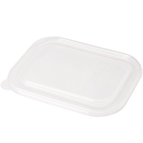 "World Centric PLA Clear Flat Lid for Container - 8"" x 6"" - TRL-CS-8"