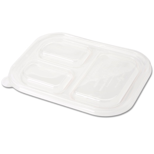 "World Centric PLA Clear Flat Lid for 3 Compartment Container - 10"" x 7.5"" - TRL-CS-10T"