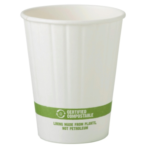 World Centric Paper White Double Wall Hot Cup - 12 oz - CU-PA-12D