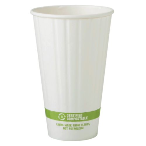 World Centric Paper White Double Wall Hot Cup - 16 oz - CU-PA-16D