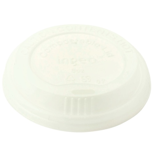 World Centric PLA White Flat Lid for Hot Cup - 8 oz - CUL-CS-8