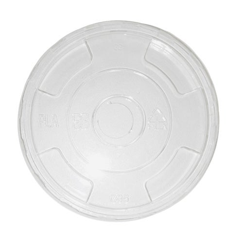 World Centric PLA Clear Flat Hole Lid for Cold Cup - 9Q-24 oz - CPL-CS-12