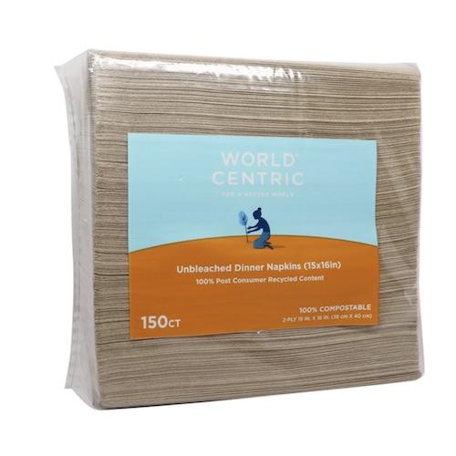 "World Centric Paper Dinner Napkin 2-Ply - 4"" x 8"" - NP-SC-DN"