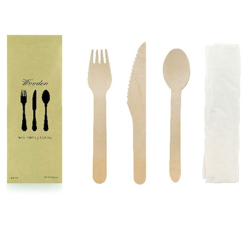 "PacknWood Wood Cutlery Kit 4 Piece - Fork, Knife, Spoon, Napkin - 6.2"" - 210COUVB4K"