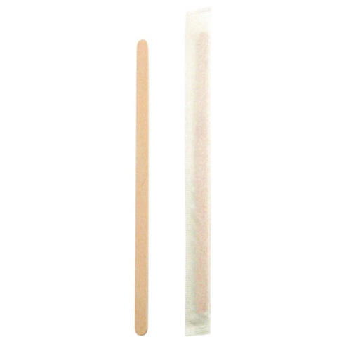 "PacknWood Wood Coffee Stirrer Wrapped - 5.5"" - 210SPATBE"