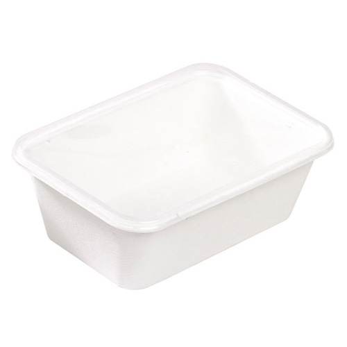 "PacknWood Sugarcane Rectangular Salad Bowl - 25 oz - 6.8"" x 4.6"" - 210APUREC750"