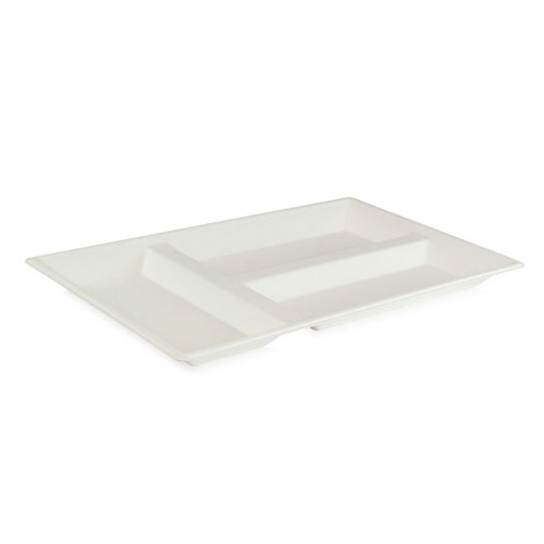 "PacknWood Sugarcane Eco Design Compartment Tray - 15.7"" x 10.6"" x 1.1"" - 210ECOD4028"