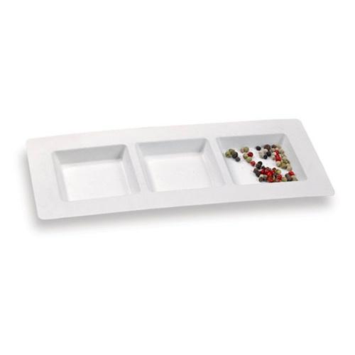 "PacknWood Sugarcane 3 Compartment Plate - 10.2"" x 4.3"" - 210APU3TAPA"