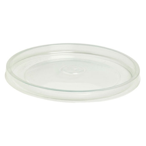 "PacknWood PP Clear Flat Hot Lid for Soup Cup - 8-12 oz - 3.5"" - 210SOUPLPP90"