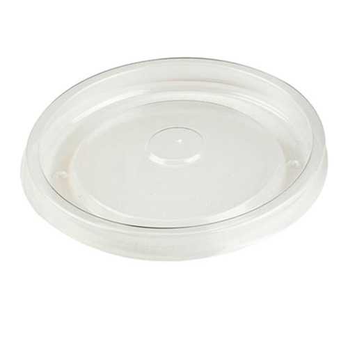 "PacknWood PP Clear Flat Hot Lid for Soup Cup - 16 oz - 3.8"" - 210SOUPLPP17"