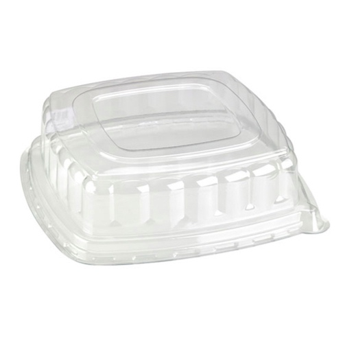 "PacknWood PET Clear Dome Lid for Square Platter - 12"" - 210APUL318"