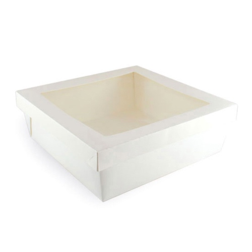 "PacknWood Paper White Window Lid Kray Box - 132 oz - 8.7"" x 8.7"" x 3.2"" - 210KRAYWH228"