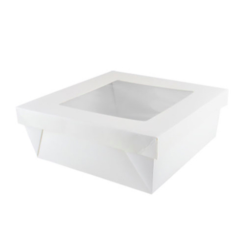 "PacknWood Paper White Window Lid Kray Box - 118 oz - 7.9"" x 7.9"" x 3.2"" - 210KRAYWH208"