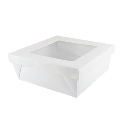 "PacknWood Paper White Window Lid Kray Box - 118 oz - 7.9"" x 7.9"" x 3.2"" - 210KRAYWH208"