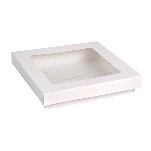 "PacknWood Paper White Window Lid Kray Box - 60 oz - 7.1"" x 7.1"" x 2"" - 210KRAYWH195"