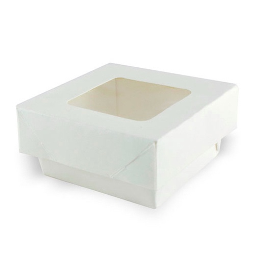 "PacknWood Paper White Window Lid Kray Box - 7 oz - 2.8"" x 2.8"" x 1.6"" - 210KRAYWH85"