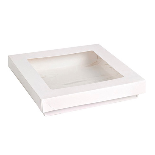 "PacknWood Paper White Window Lid Kray Box - 34 oz - 7.3"" x 7.3"" x 1.6"" - 210KRAYWH194"