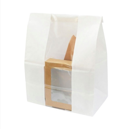 "PacknWood Paper White Window Bag - 7.1"" x 4.3"" x 10.4"" - 210SOS13BLF"