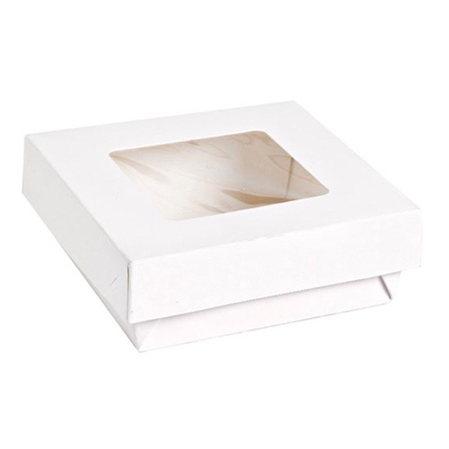 "PacknWood Paper White Window Lid Kray Box - 34 oz - 5.5"" x 5.5"" x 2"" - 210KRAYWH155"
