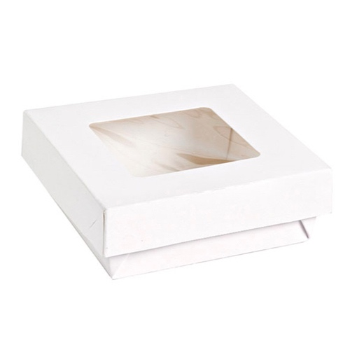 "PacknWood Paper White Window Lid Kray Box - 22 oz - 4.7"" x 4.7"" x 2"" - 210KRAYWH135"