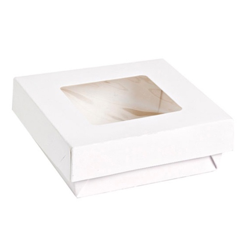 "PacknWood Paper White Window Lid Kray Box - 12 oz - 3.9"" x 3.9"" x 1.6"" - 210KRAYWH115"
