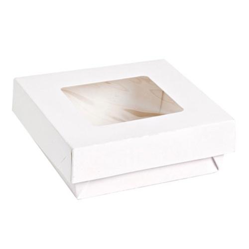 "PacknWood Paper White Window Lid Kray Box - 12 oz - 3.9"" x 3.9"" x 1.6"" - 210KRAYWH115"