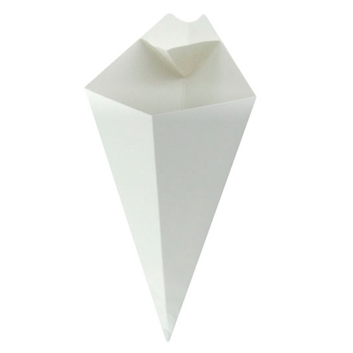 PacknWood Paper White Sauce Compartment Cone - 14 oz - 210CONFR3WH