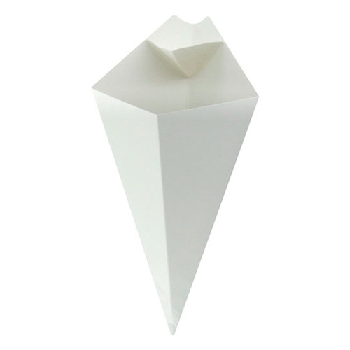 PacknWood Paper White Sauce Compartment Cone - 8 oz - 210CONFR2WH