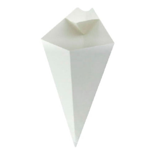 PacknWood Paper White Sauce Compartment Cone - 5 oz - 210CONFR1WH