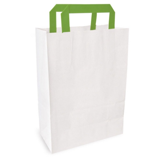 "PacknWood Paper White Bag Green Handle - 10.3"" x 6.6"" x 11"" - 210CAB2518W"