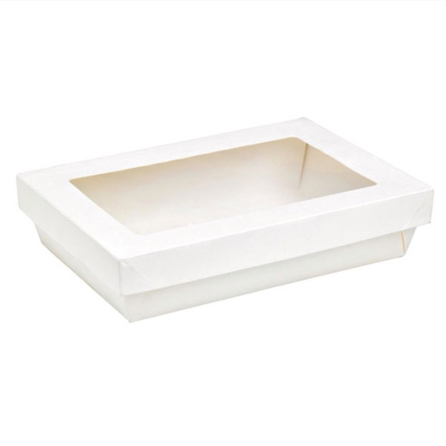 "PacknWood Paper Rectangular White Window Kray Box - 8.8"" x 6.1"" x 2"" - 210KARECWH2215"