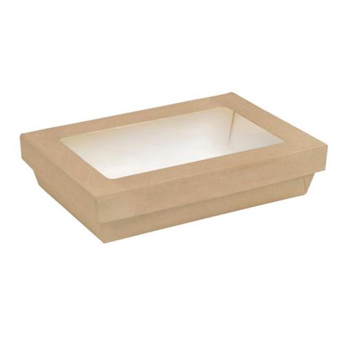 "PacknWood Paper Rectangular Kraft Window Kray Box - 9"" x 6"" x 2"" - 210KARECB2215"