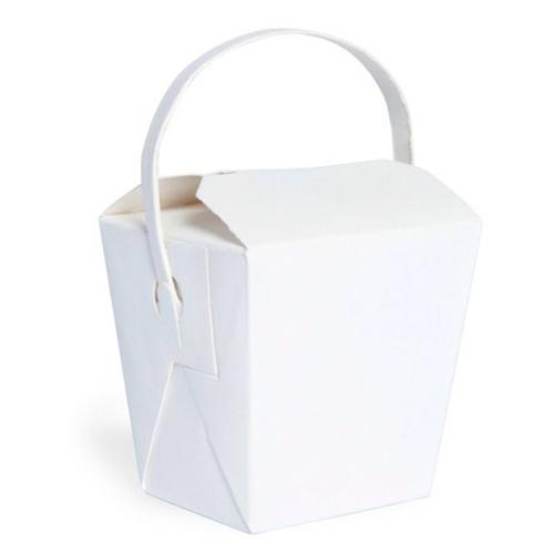 """PacknWood Paper Noodle Box Handle - 8 oz - 2.6"""" x 2.8"""" x 2.8"""" - 210ASPAIL8BL"""