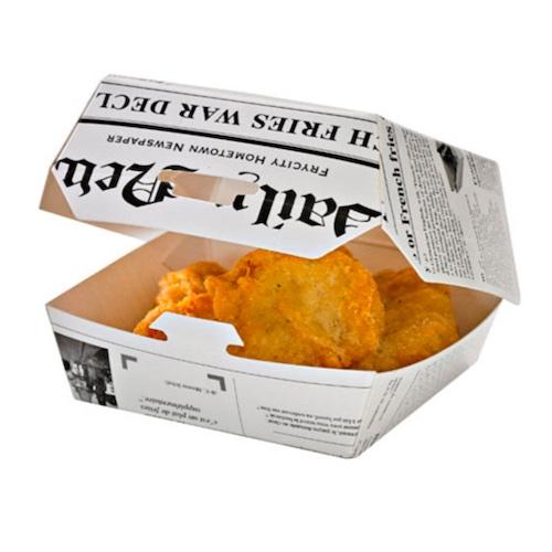 "PacknWood Paper News Print Slider Box - 5.7"" x 5.3"" x 3.1"" - 210EATBURG135J"