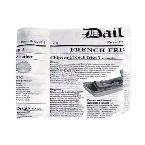 "PacknWood Paper News Print 2 Side Open Bag - 6.7"" x 6.7"" - 2CHPAPNEWS17"