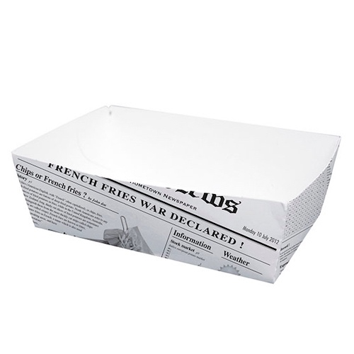 "PacknWood Paper News Print Basket - 29 oz - 5.9"" x 3.5"" x 2"" - 210BCNEWS850"