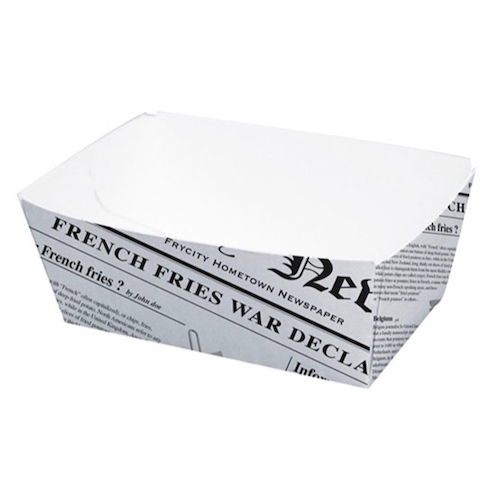"PacknWood Paper News Print Basket - 8.5 oz - 3.5"" x 2.2"" x 1.6"" - 210BCNEWS250"
